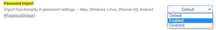 Password import chrome flag