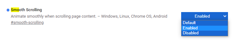 Smooth Scrolling, Chrome flags