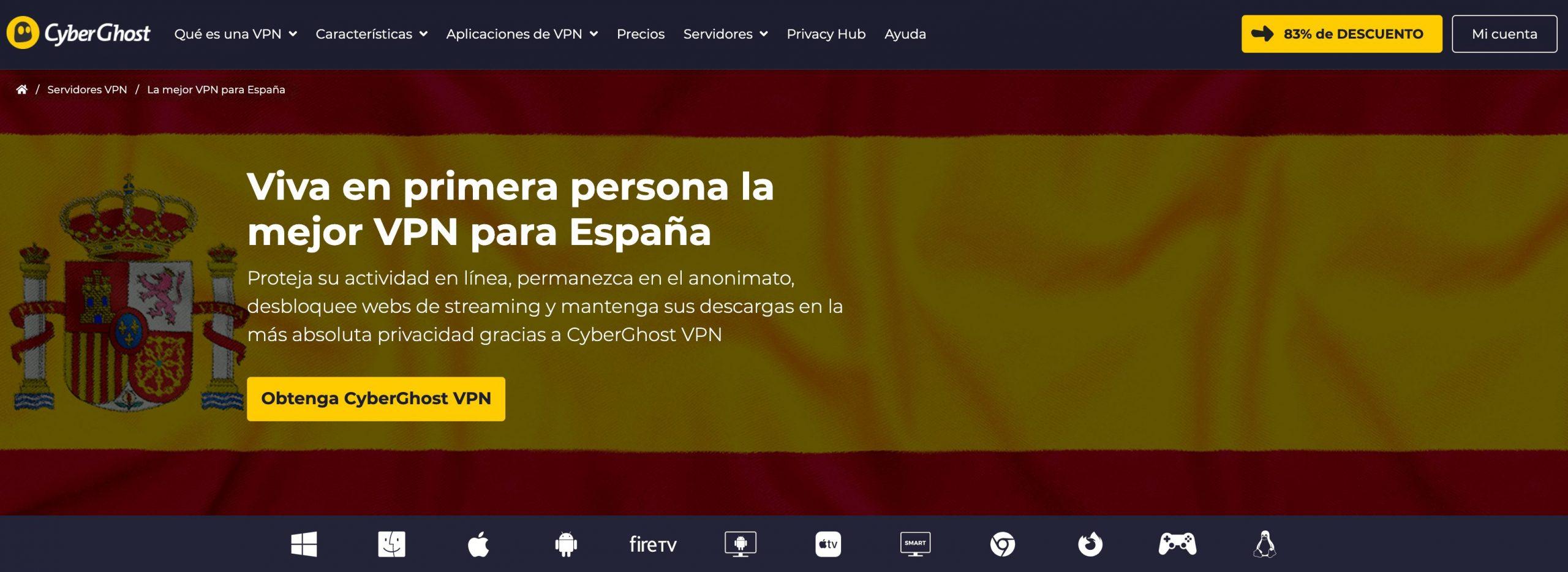 CyberGhost mejor VPN para España